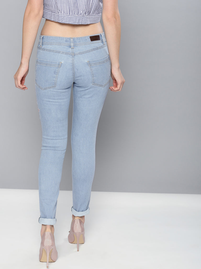 Regular Fit Mid-Rise Low Distress Stretchable Jeans