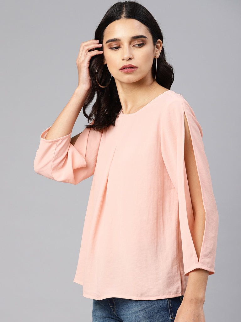 Round Neck Top With Front Pleat