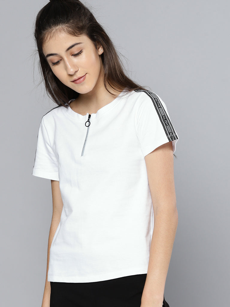 ZIP DETAIL HALF T-SHIRT