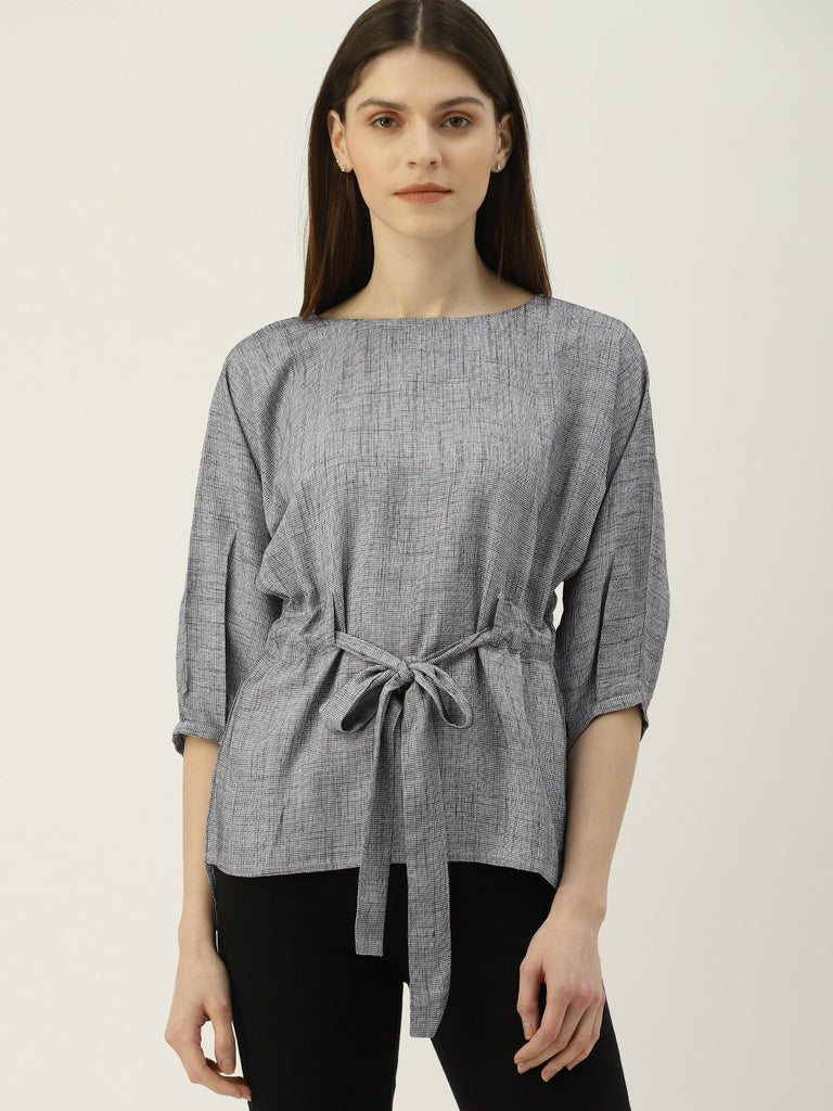 Boat Neck Top With Belt