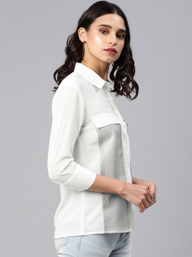 Shirt With Decorative Mesh Panel