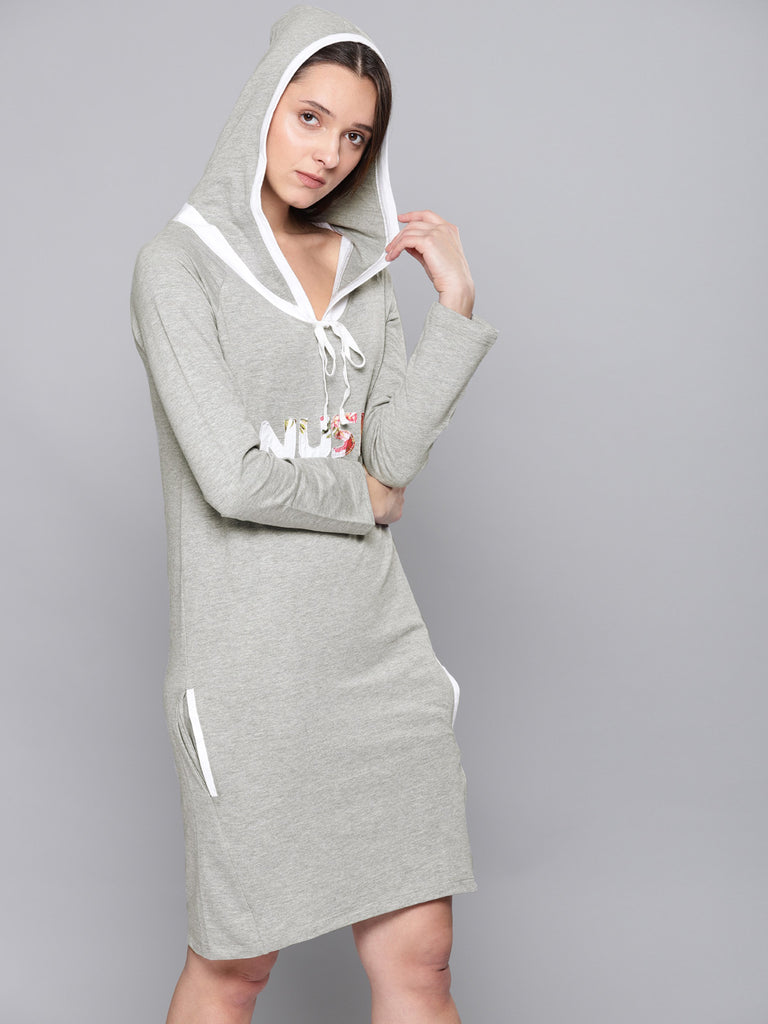 Printed Hooded T-shirt Dress