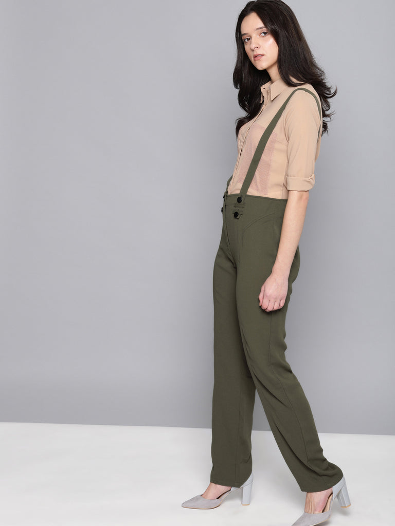 Regular Fit Solid Regular Trousers with Suspenders