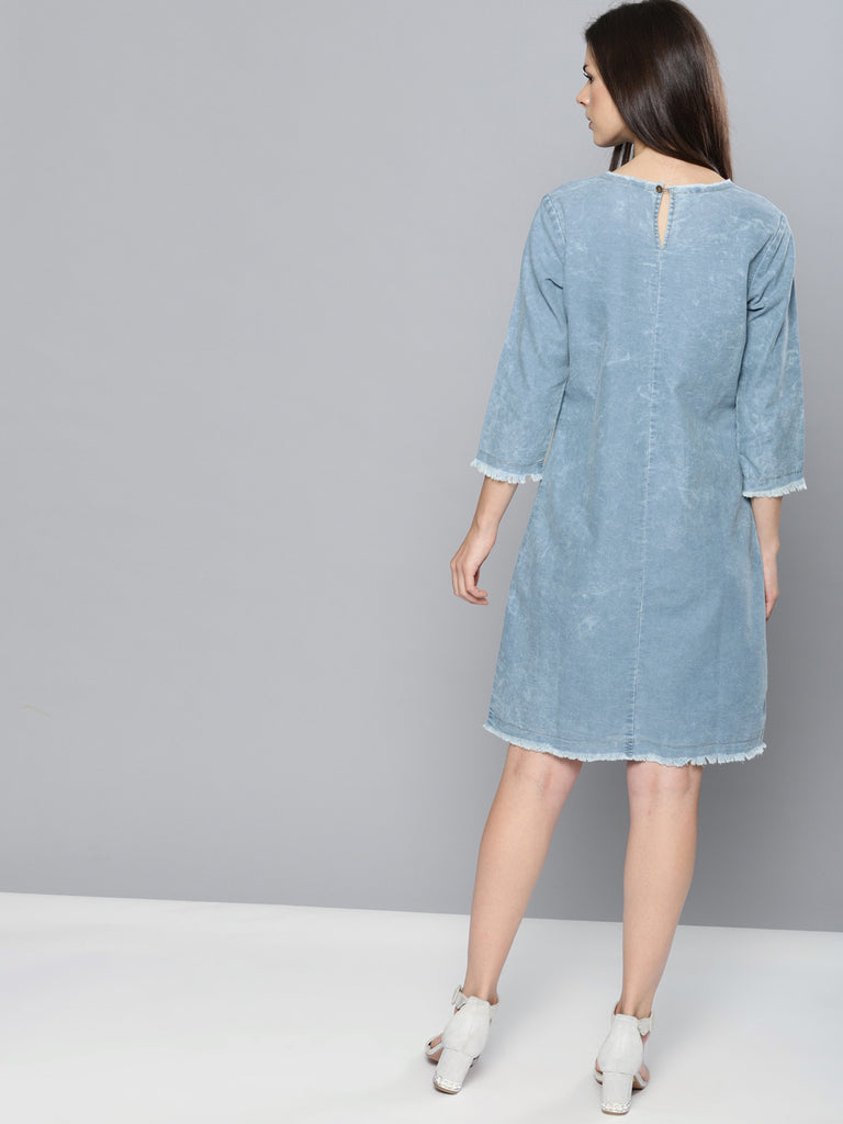 Faded A-Line Denim Dress
