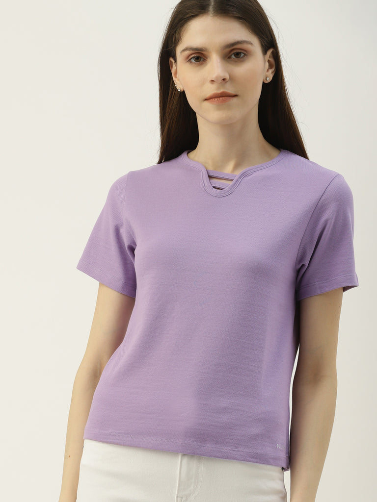 Solid Top With Neck Detail Brand Logo