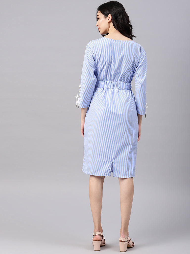 String Eyelet Sleeve Dress