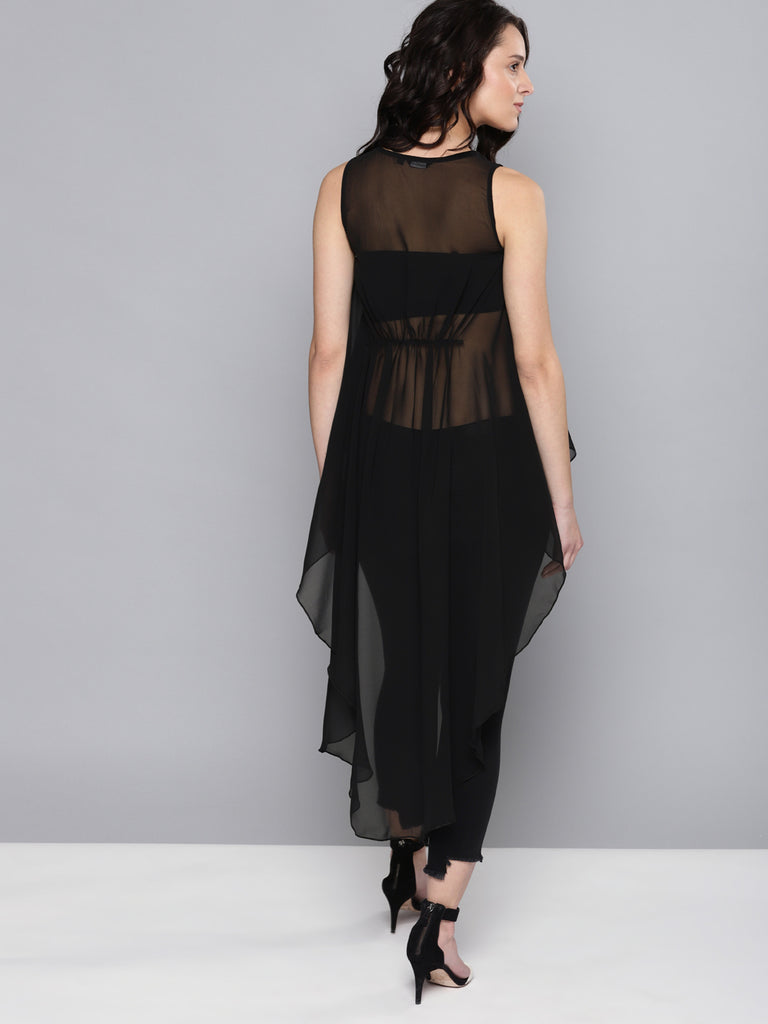 Self Design Semi Sheer High-Low Top