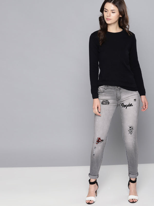 Grey Regular Fit Mid-Rise Mildly Distressed Stretchable Jeans