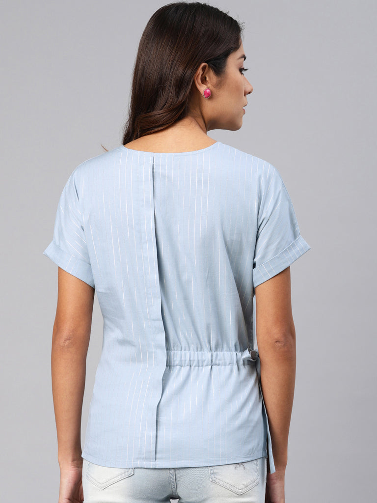Round Neck Top With Side Tie Up
