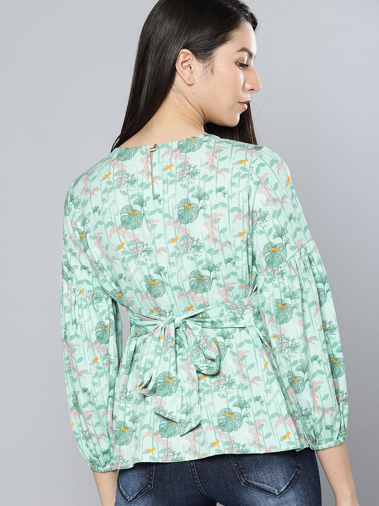 Floral Printed Styled Back Top