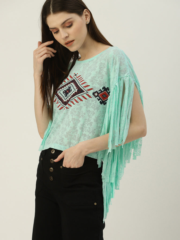 Round Neck Oversized Fringed Top