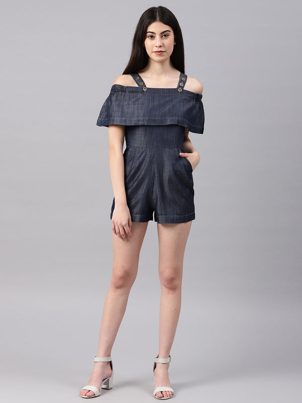 Layered Play Suit With Cross Pockt