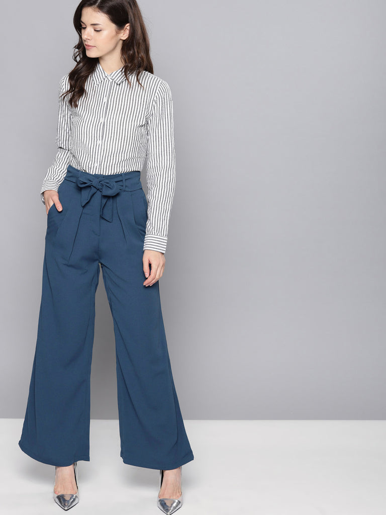 Regular Fit Solid Bootcut Trousers