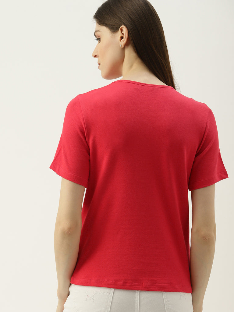 Solid Tee With Logo Print At Hem