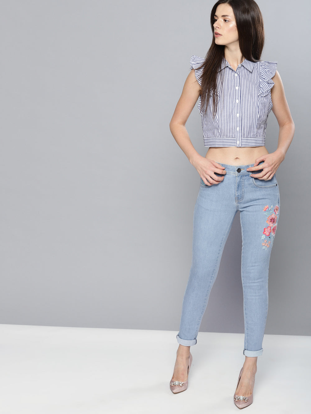Blue Regular Fit Mid-Rise Low Distress Stretchable Jeans