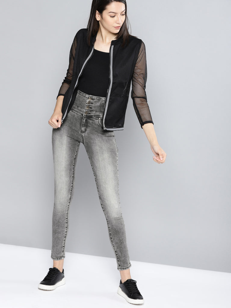 Regular Fit High-Rise Clean Look Stretchable Jeans