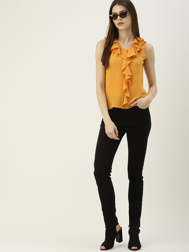 Solid Ruffle V Neck Sleeveless Top