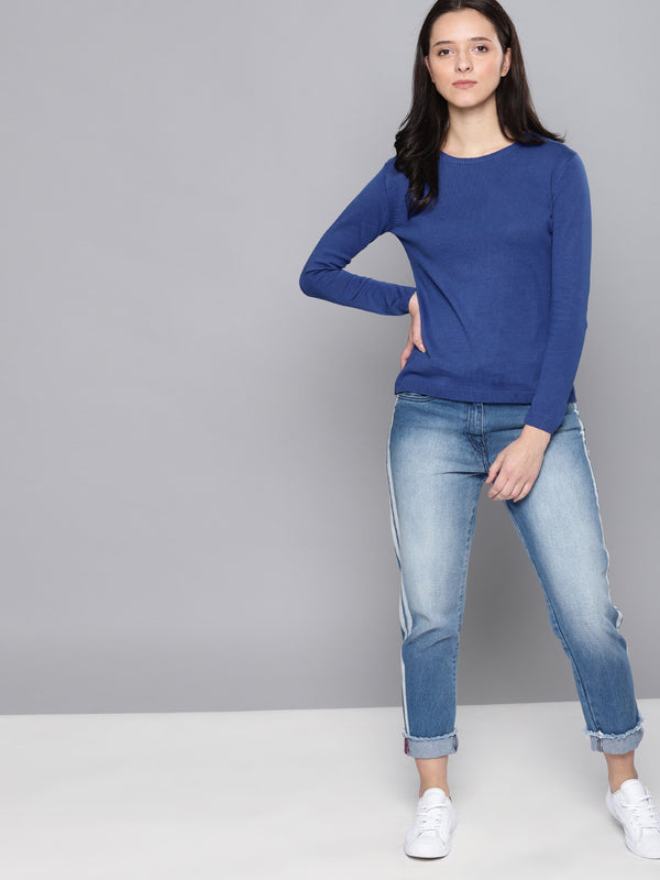 Blue Solid Pullover