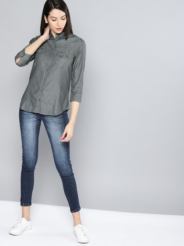 Casual Embellished Chambray Shirt
