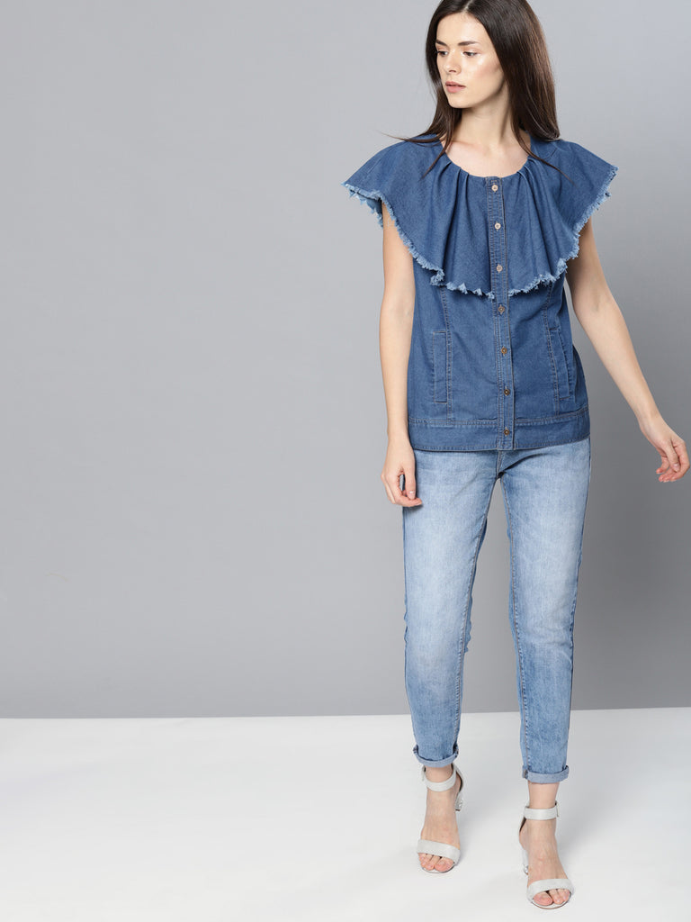 FRILLED SLEEVE AND PLACKET