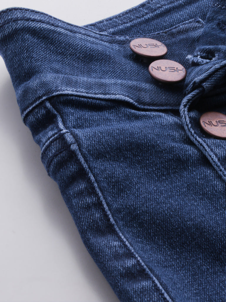 Mid Waist Panneled Denim