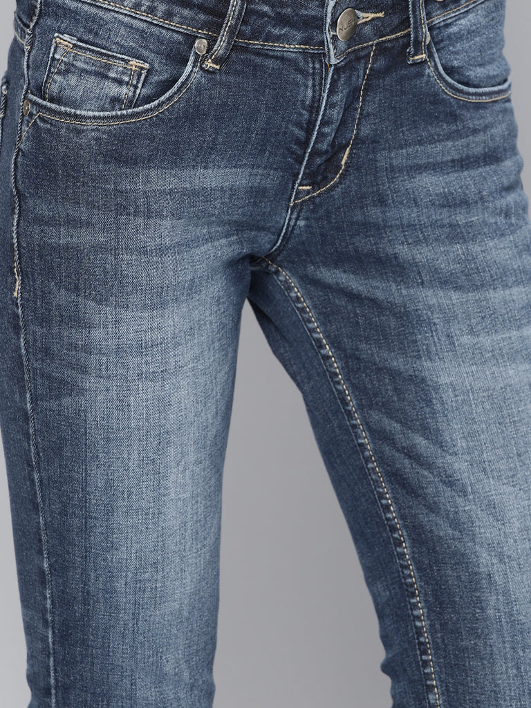 Flat Fit Mid-Rise Clean Look Stretchable Jeans
