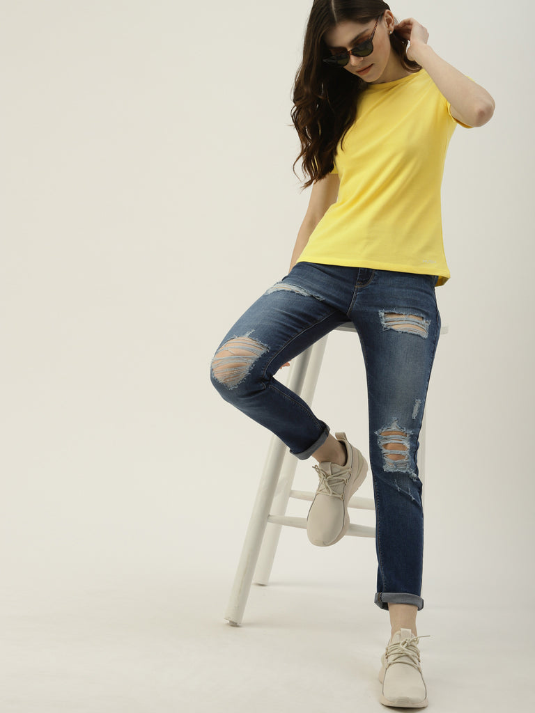 Cold Shoulder Tee With Brand Logo