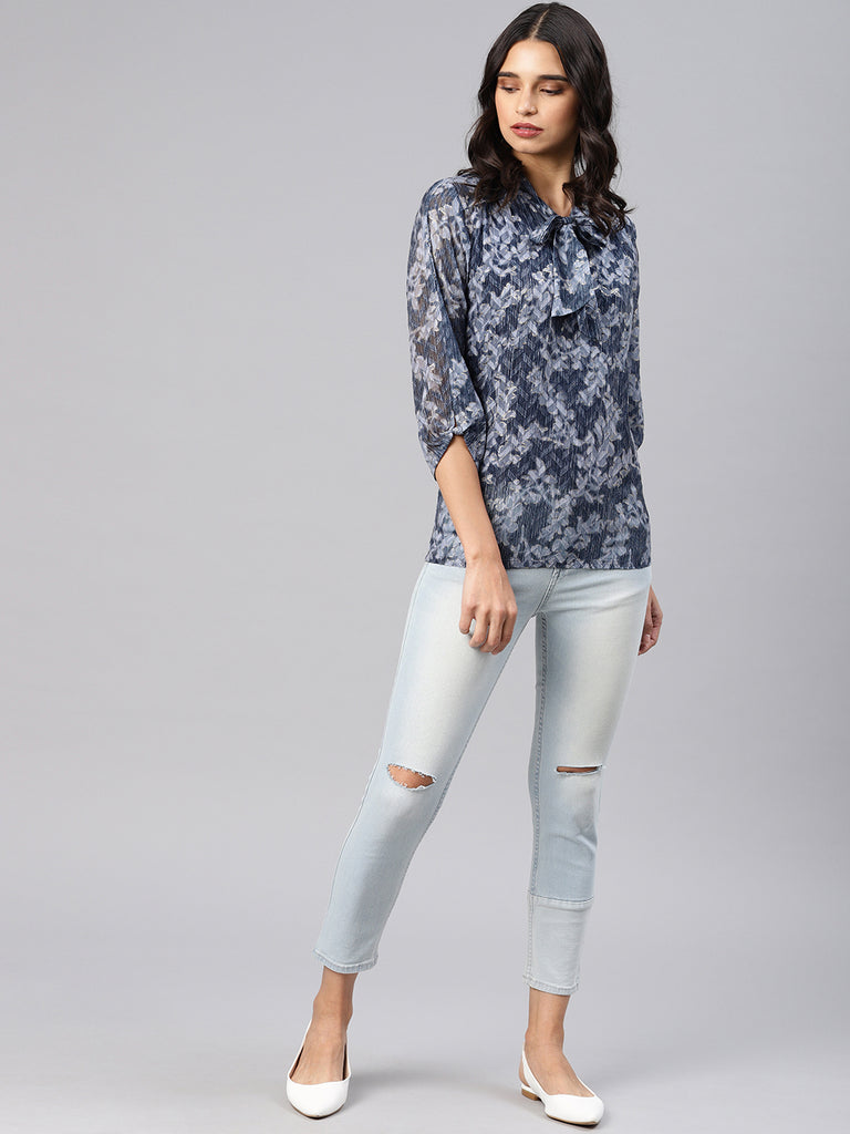 Floral Printed Top With Neck Tie Up