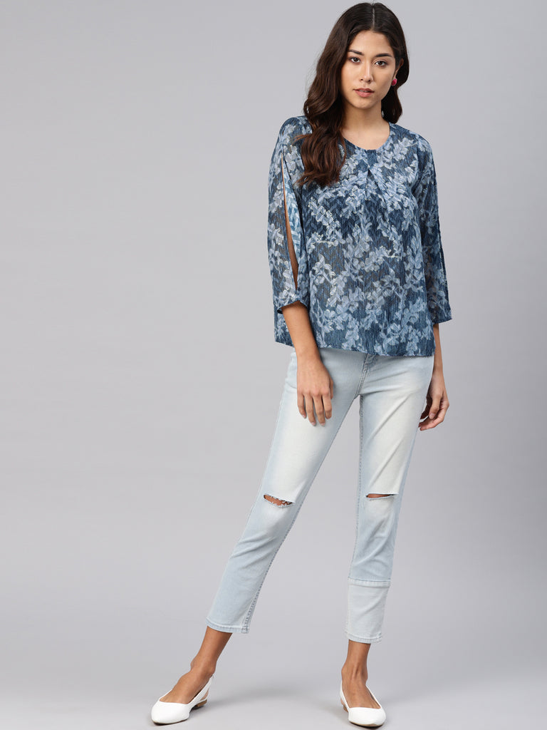 Printed Front Pleat Top With Sleeve Slit