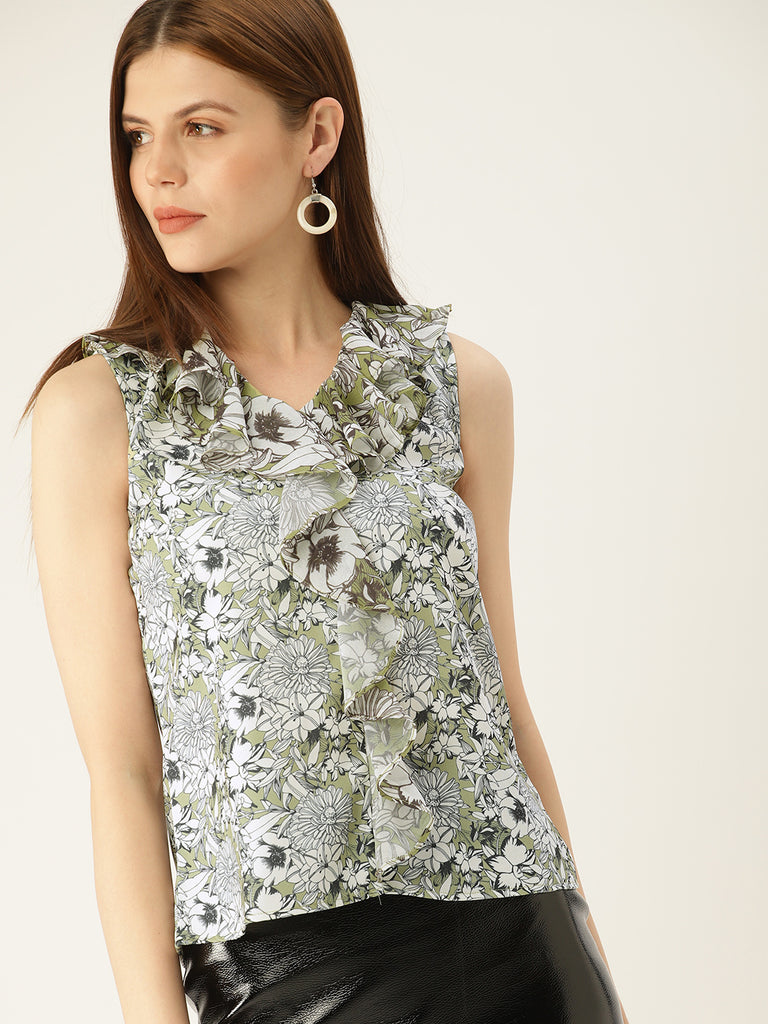 RUFFLED V NECK FLORAL SLEEVELESS TOP