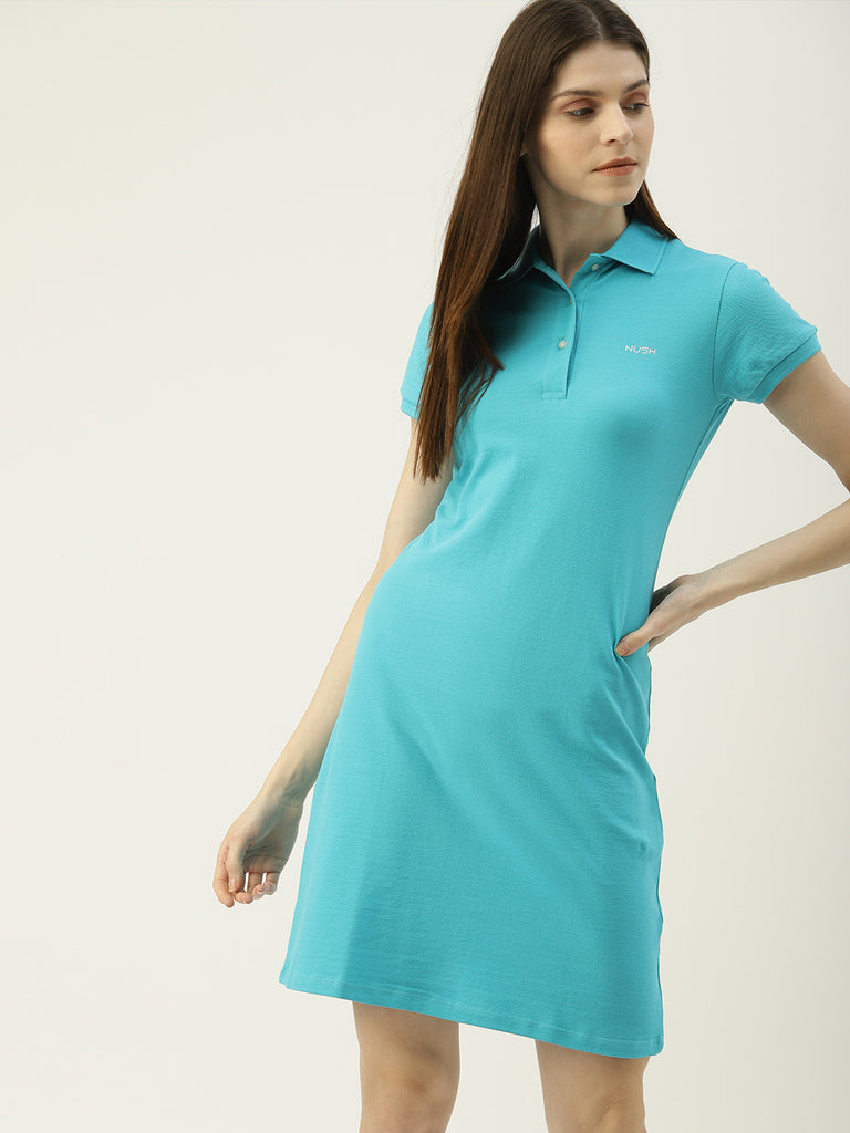 Polo T-Shirt Collar Dress With Brand Logo