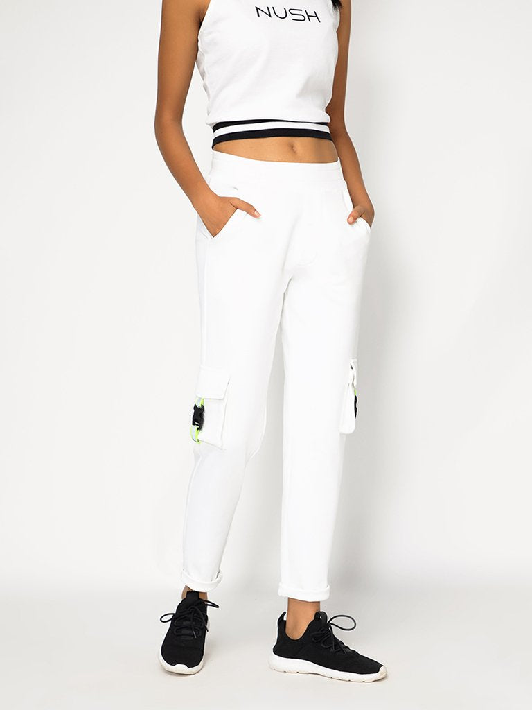 White Regular Fit Track Pants