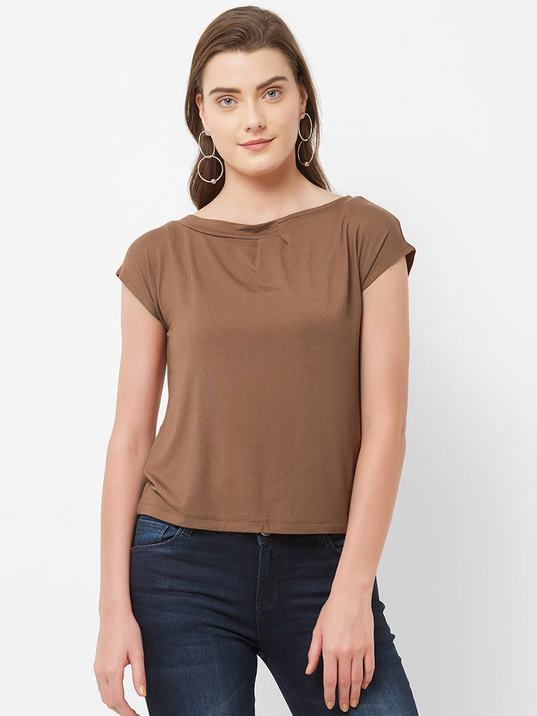 ROUND NECK PLEATED SLEEVELESS TOP