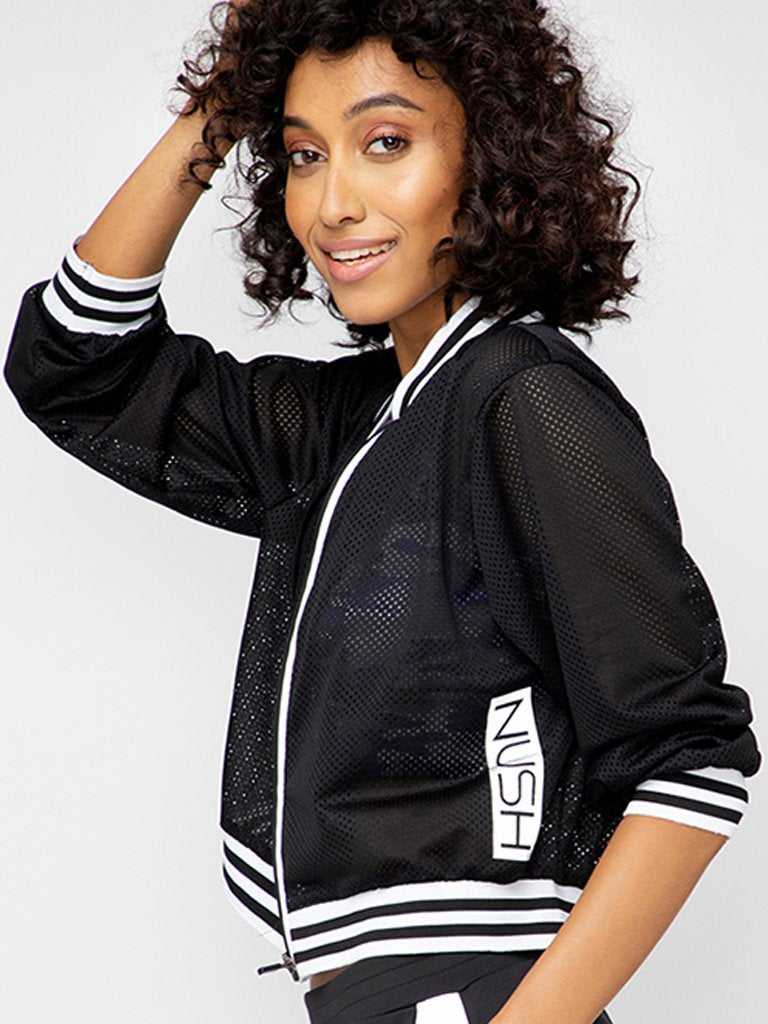 Black Solid Varsity Jacket