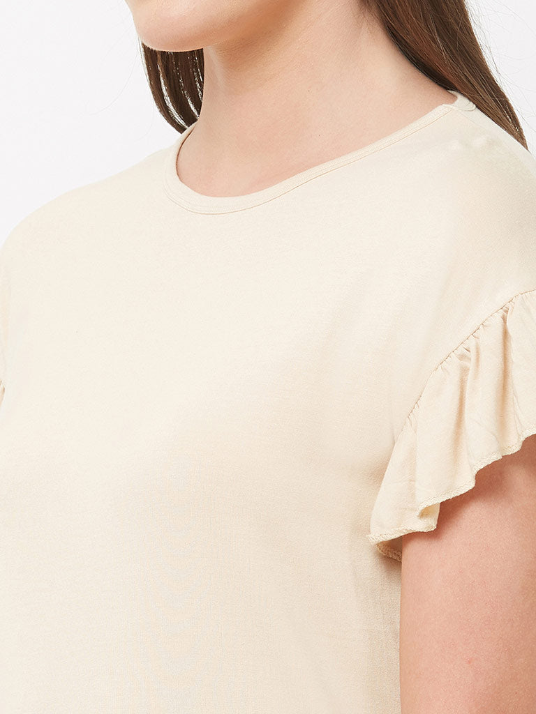 DROP SHOULDER FRILL TOP