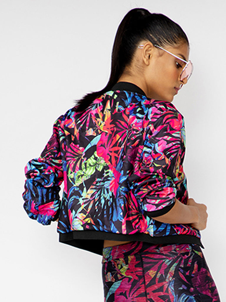 Multi Print Printed Crop Bomber Jacket B