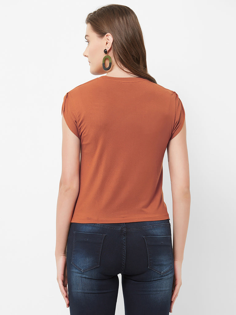 PETAL SLEEVE CLOSED NECK TOP
