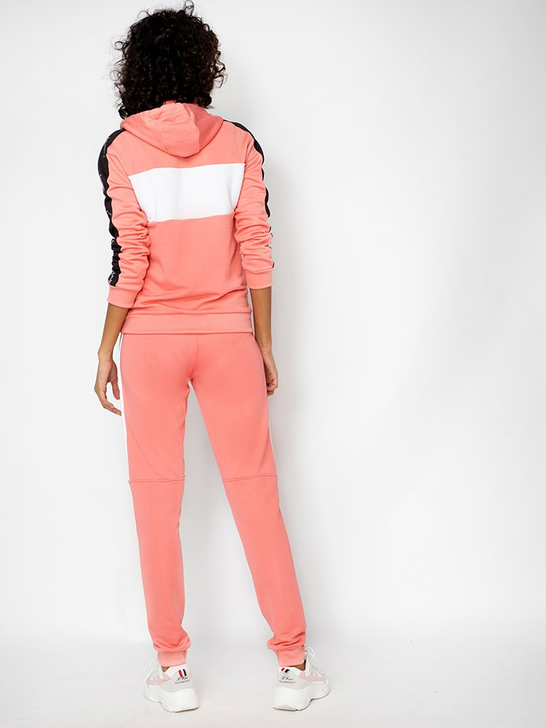 Pink Colourblocked Hooded Sweatshirt