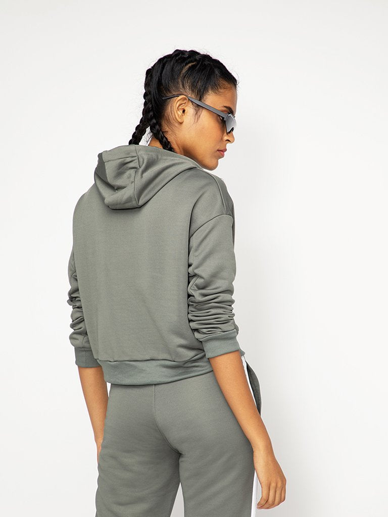 Olive Solid Hooded Sweatshirt
