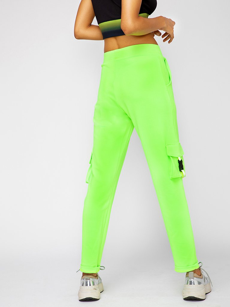 Neon Green Regular Fit Track Pants