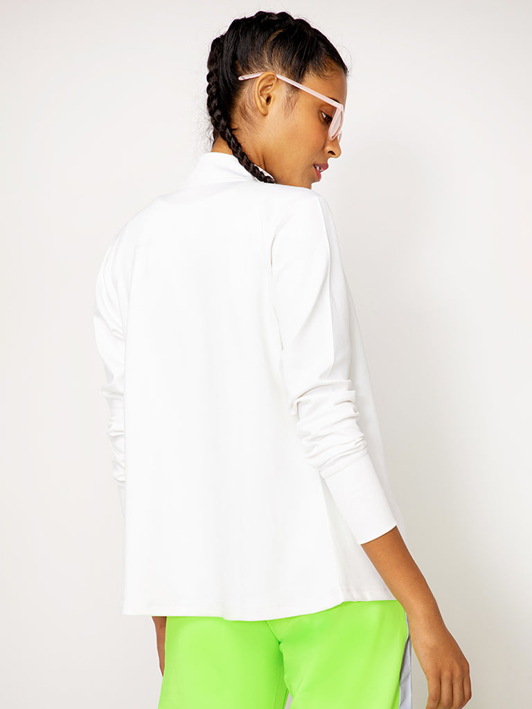 White Thumbhole Sleeve Jacket