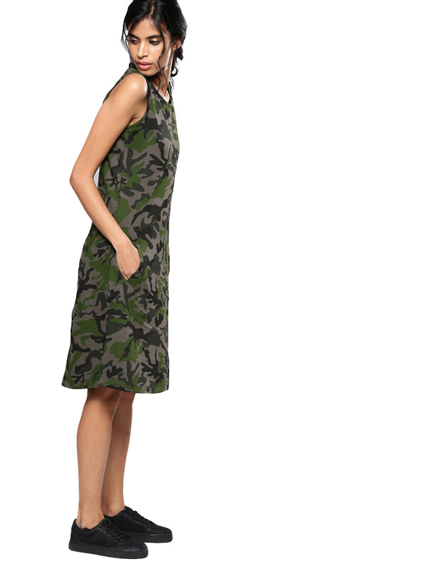Green Camouflage Printed A-Line Dress