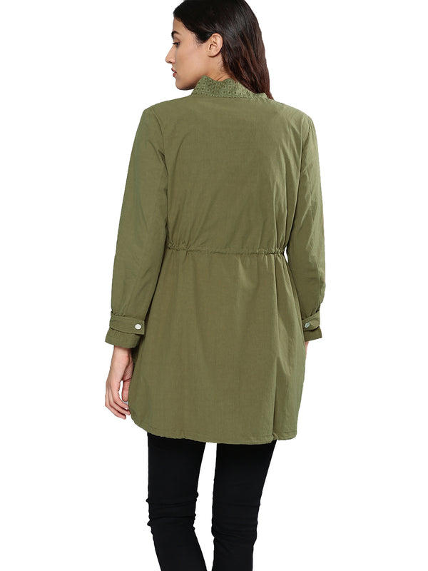 Olive Green Self Design Open Front Shrug