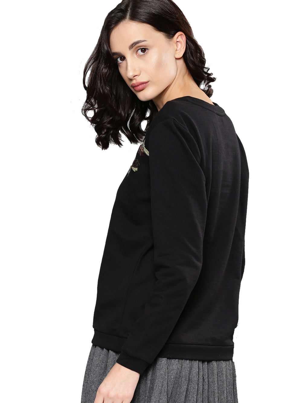 Black Solid Sweatshirt