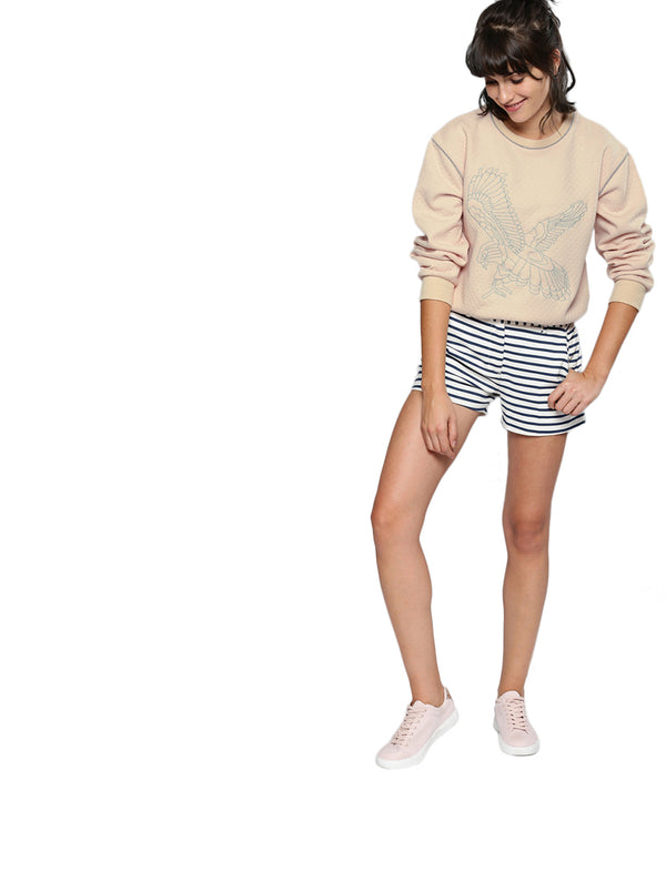 Peach-Coloured Self-Design Sweatshirt