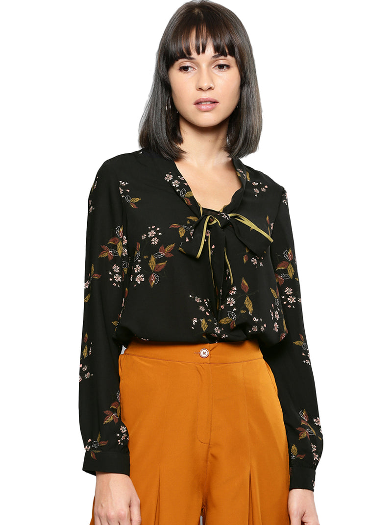 Black Printed Shirt Style Pussy Bow Collar Top