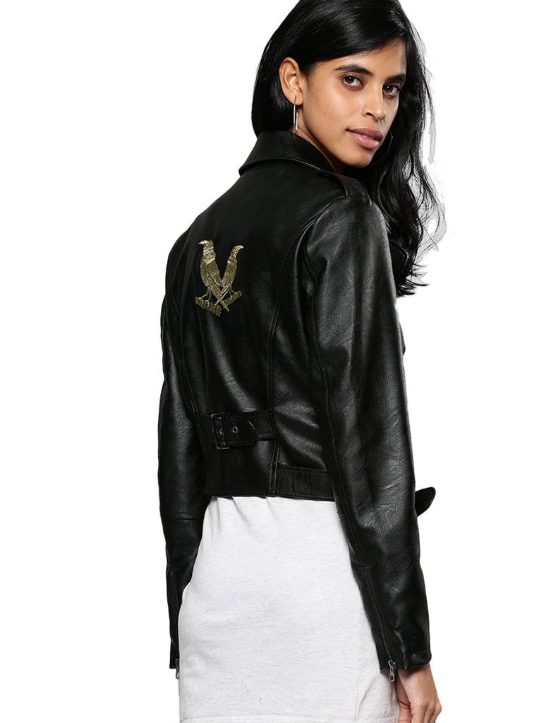 black PU JACKET w/back skull emb