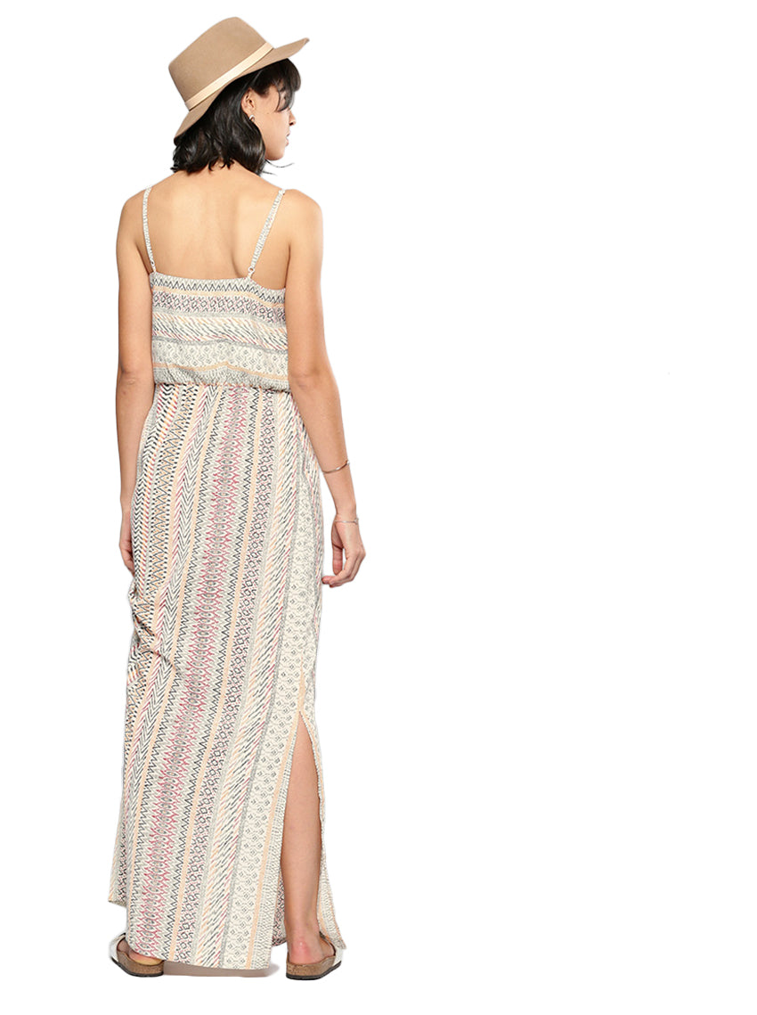 Beige Printed Maxi Dress