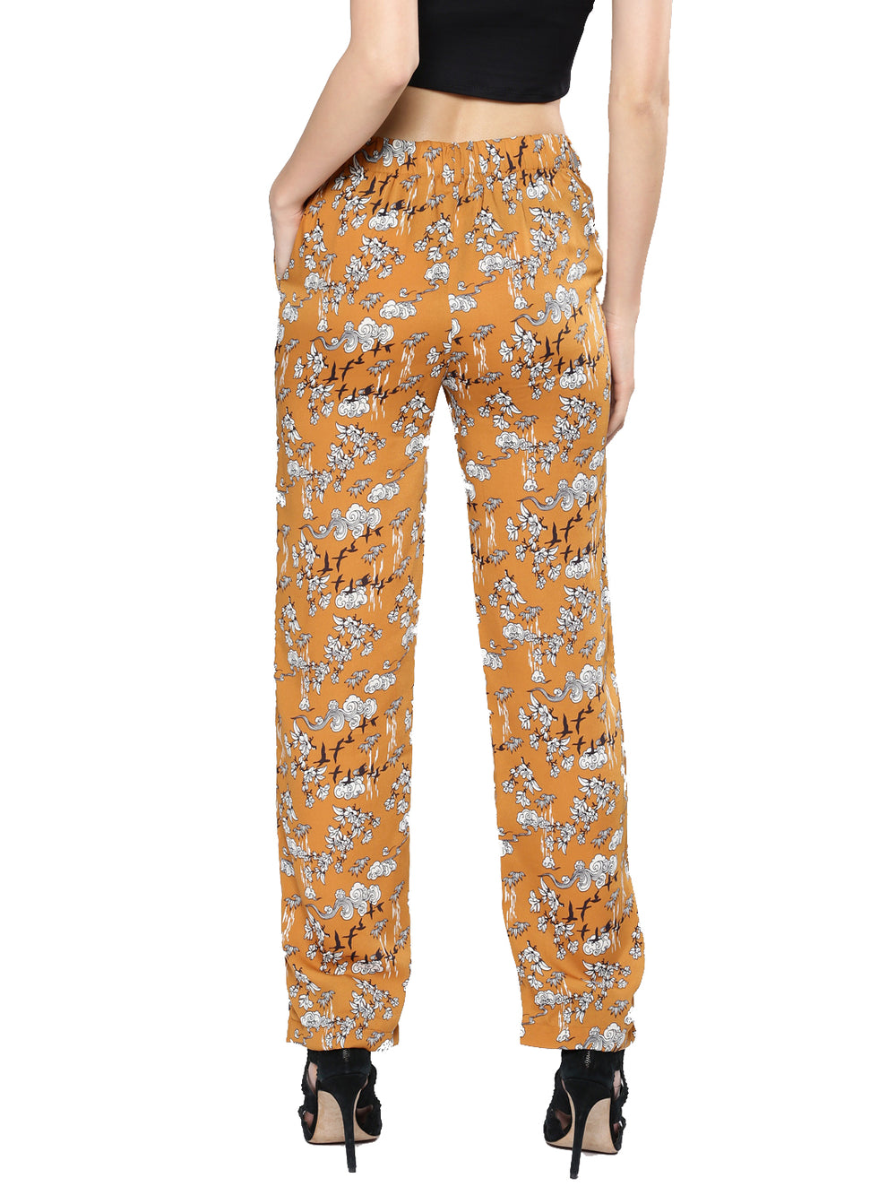 Mustard Yellow Printed Relaxed Fit Parallel Trousers