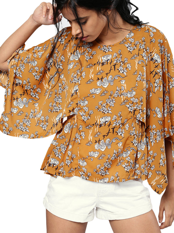 Brown Printed Top Round Neck